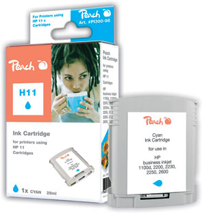 Peach Cartouche d'encre  cyan, compatible avec ID-Fabricant: No. 11 cyan, C4836A HP Business InkJet 2200