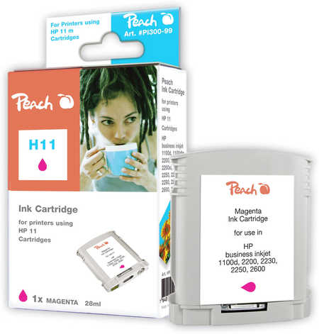 Peach Cartouche d'encre  magenta, compatible avec ID-Fabricant: No. 11 magenta, C4837A HP Business InkJet 1000