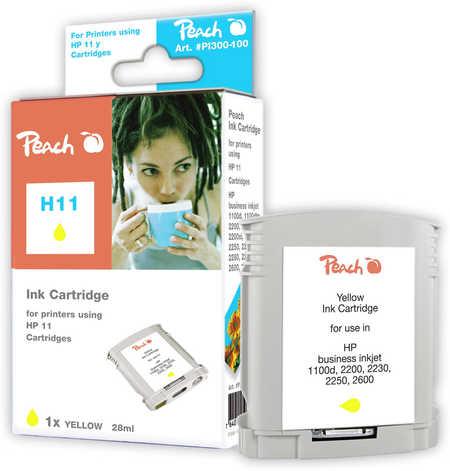 Peach Cartouche d'encre  jaune, compatible avec ID-Fabricant: No. 11 gelb, C4838A HP Business InkJet 1000