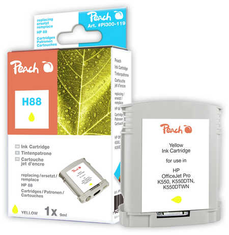 Peach  Ink Cartridge yellow compatible with ID-Fabricant: No. 88, C9388AE HP OfficeJet Pro K 550