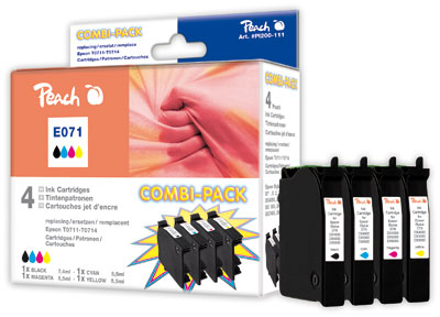 Peach  Multi Pack, compatible avec ID-Fabricant: T0715, T0711, T0712, T0713, T0714 Epson Stylus Office BX 510 W