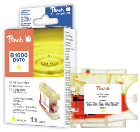 Peach  cartouche d'encre jaune XL, compatible avec ID-Fabricant: LC-1000y, LC-970y Brother DCP-130 C