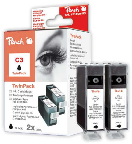 Peach  Pack à deux noire, compatible avec ID-Fabricant: BCI-3e bk Canon BJC 6000