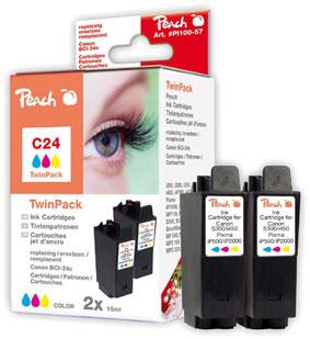 Peach  Twin Pack cartouche d'encre coleur, compatible avec ID-Fabricant: BCI-24 c Canon imageCLASS MPC 200