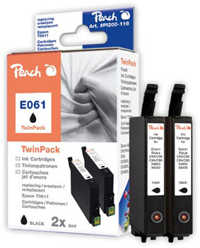 Peach  Twin Pack Ink Cartridges black, compatible with ID-Fabricant: T0611 Epson Stylus DX 4850