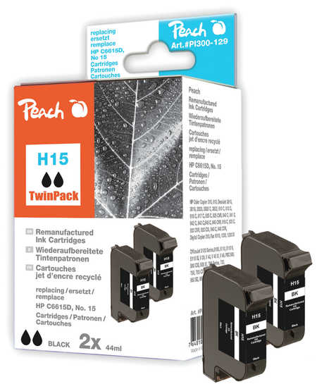 Peach  Twin Pack Ink Cartridges black, compatible with ID-Fabricant: No. 15, C6615D HP DeskJet 810 C