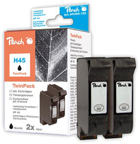 Peach  Twin Pack Ink Cartridges black, compatible with ID-Fabricant: No. 45, 51645A HP Color Copier 210