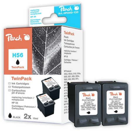 Peach  Pack à deux noire, compatible avec ID-Fabricant: No. 56, C6656AE HP PSC 1310