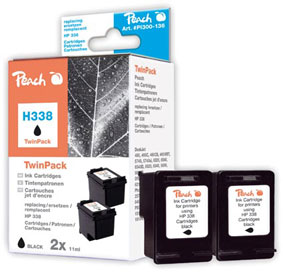 Peach  Twin Pack Ink Cartridges black, compatible with ID-Fabricant: No. 338, C8765E HP DeskJet 5740