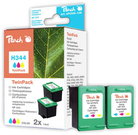 Peach  Twin Pack Ink Cartridges colour, compatible with ID-Fabricant: No. 344, C9363E HP DeskJet 5740