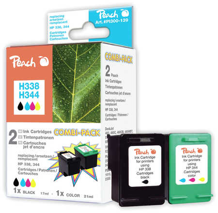 Peach  Multi Pack, compatible avec ID-Fabricant: No. 338, C8765E, No. 344, C9363E HP DeskJet 5740