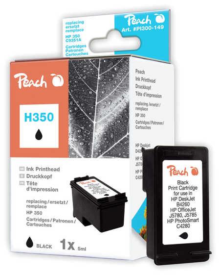 Peach Tête d'impression  noire, compatible avec ID-Fabricant: No. 350, HP CB335EE HP OfficeJet J 5780