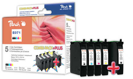 Peach Multipack Plus  compatible avec ID-Fabricant: T071, T0711, T0712, T0713, T0714 Epson Stylus Office BX 600 FW
