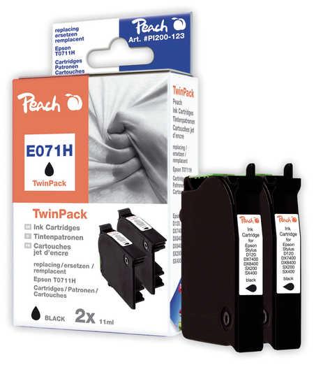 Peach  Pack à deux noire, compatible avec ID-Fabricant: T0711H, C13T07114H10 Epson Stylus Office BX 310 FN