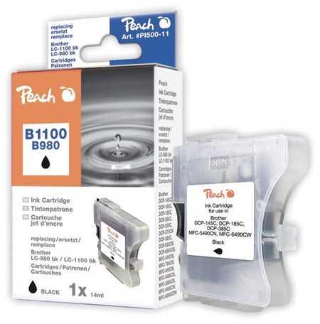 Peach Cartouche d'encre  noir, compatible avec ID-Fabricant: LC-1100bk, LC-980bk Brother DCP-163 C