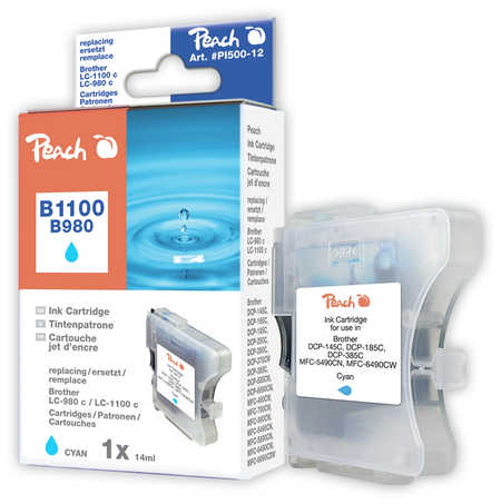 Peach Cartouche d'encre  cyan, compatible avec ID-Fabricant: LC-1100c, LC-980c Brother DCP-163 C