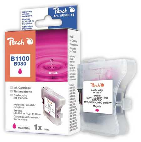 Peach Cartouche d'encre  magenta, compatible avec ID-Fabricant: LC-1100m, LC-980m Brother DCP-163 C