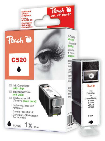 Peach Cartouche d'encre  noir, compatible avec ID-Fabricant: PGI-520, PGI-520bk, 2932B001 Canon Pixma MP 620