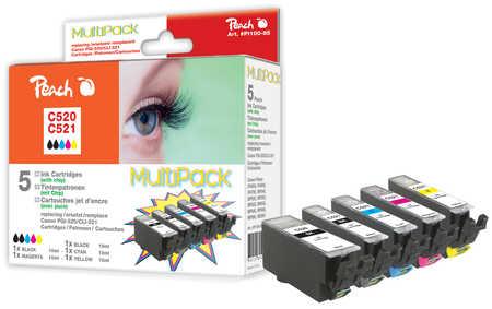 Peach  Multipack avec puce, XL, compatible avec ID-Fabricant: CLI-521, PGI-520 Canon Pixma MP 620