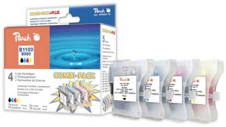 Peach Multipack , compatible avec ID-Fabricant: LC-1100, LC-980 bk, c, m, y Brother DCP-163 C
