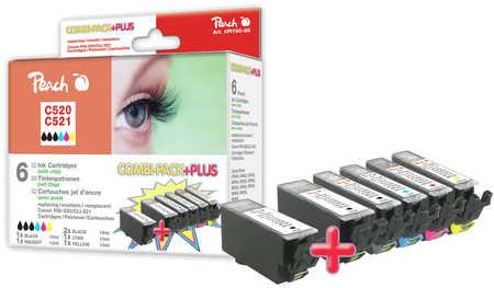 Peach Multipack Plus  avec puce, rendement XL, compatible avec ID-Fabricant: CLI-521, 2xPGI-520 Canon Pixma MP 620