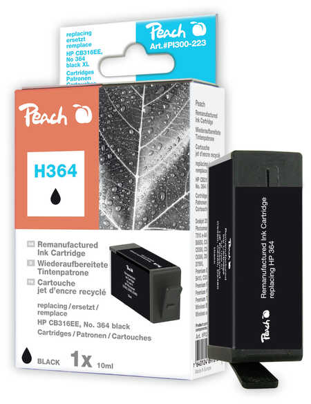 Peach  Ink Cartridge black compatible with ID-Fabricant: No. 364, CB316EE HP PhotoSmart C 5390