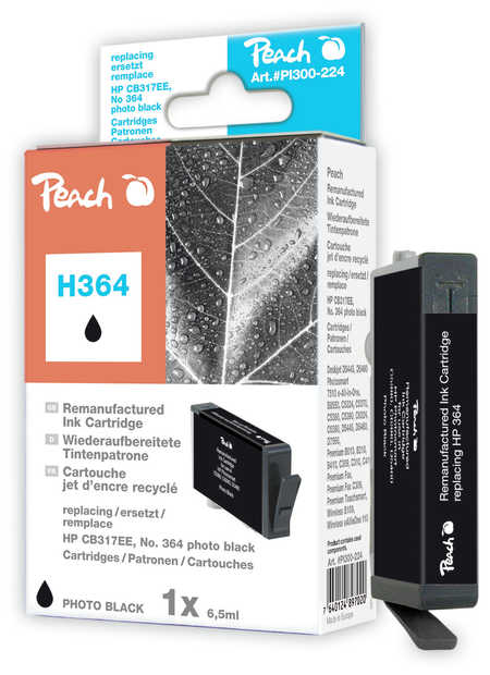 Peach  Ink Cartridge photo black compatible with ID-Fabricant: No. 364, CB317EE HP PhotoSmart C 5390