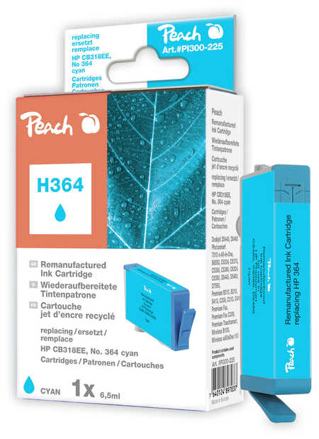 Peach  Ink Cartridge cyan compatible with ID-Fabricant: No. 364, CB318EE HP PhotoSmart Premium C 410 Series