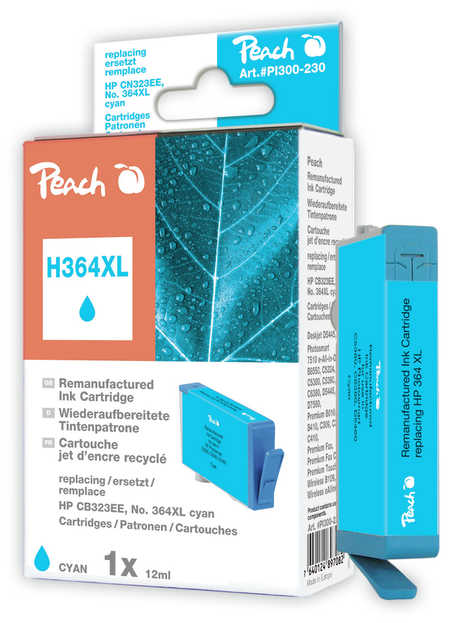 Peach  Ink Cartridge cyan compatible with ID-Fabricant: No. 364XL, CB323EE HP PhotoSmart Premium C 410 Series
