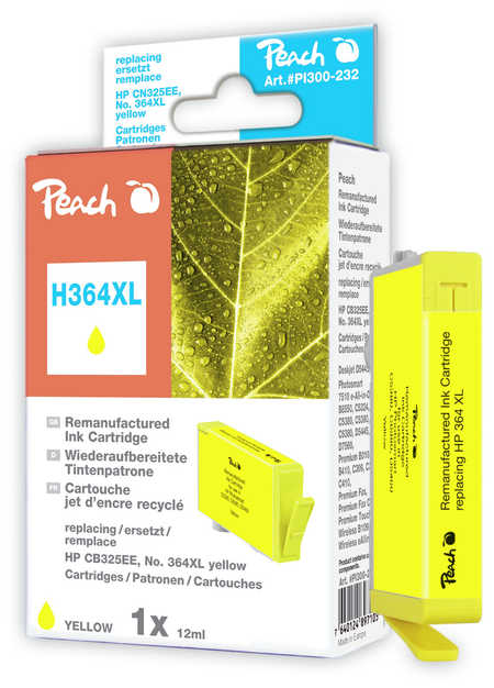Peach  Ink Cartridge yellow compatible with ID-Fabricant: No. 364XL, CB325EE HP PhotoSmart C 5390