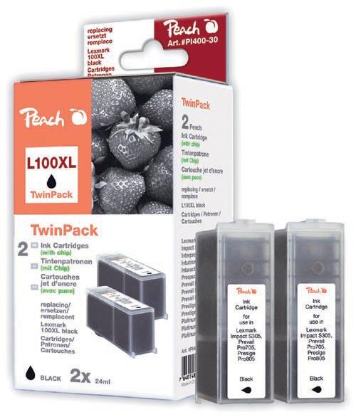Peach  Pack à deux, 2 cartouches d'encre noire avec puce, compatible avec ID-Fabricant: No. 100XL, 14N1092 Lexmark S 500 Series