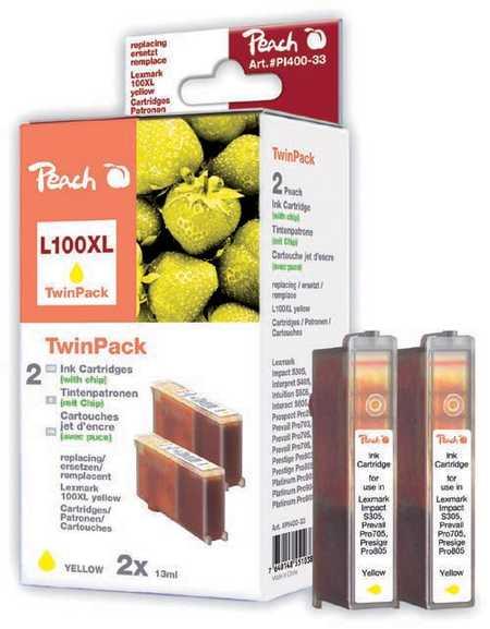 Peach  Pack à deux, 2 cartouches d'encre jaune avec puce, compatible avec ID-Fabricant: No. 100XL, 14N1095 Lexmark S 500 Series