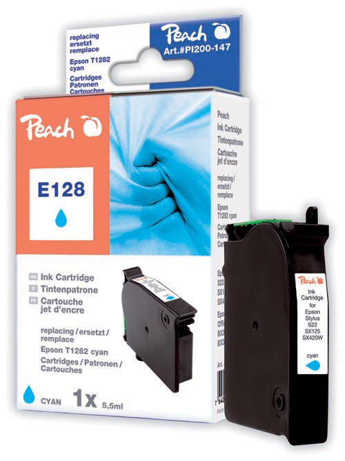 Peach Cartouche d'encre  cyan, compatible avec ID-Fabricant: T128, T1282 Epson Stylus Office BX 305 F