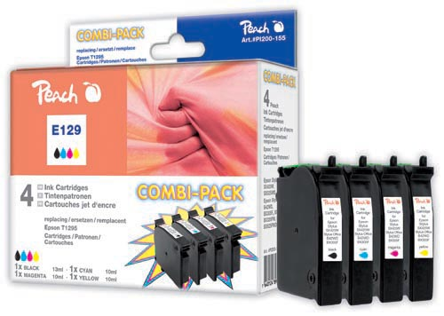 Peach  Multi Pack Ink Cartridges, compatible with ID-Fabricant: T129, T1295 Epson Stylus SX 525 WD