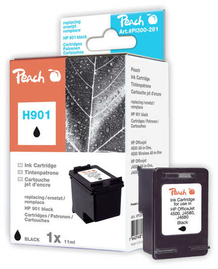 Peach Tête d'impression  noire, compatible avec ID-Fabricant: No. 901, CC653AE HP OfficeJet J 4540