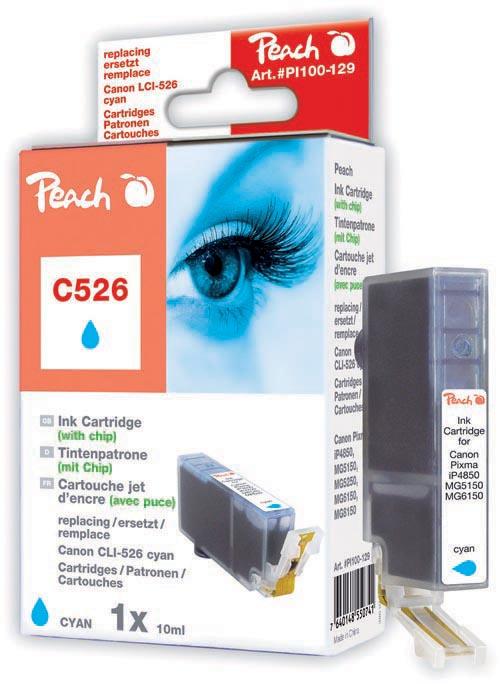 Peach Cartouche d'encre  cyan, compatible avec ID-Fabricant: CLI-526, CLI-526 c Canon Pixma MG 5150