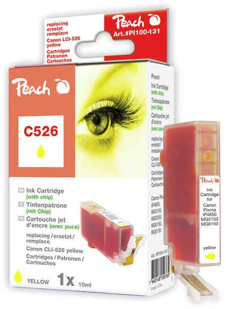Peach  cartouche d'encre jaune XL avec puce, compatible avec ID-Fabricant: CLI-526, CLI-526 y Canon Pixma MG 5150