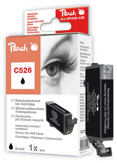 Peach  Ink Cartridge photoblack black, compatible with ID-Fabricant: CLI-526bk Canon Pixma MG 5150