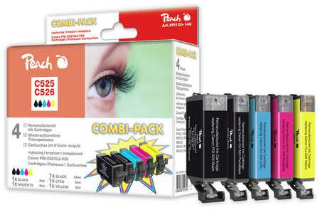 Peach  Multi Pack, compatible avec ID-Fabricant: CLI-526, PGI-525 Canon Pixma MP 620
