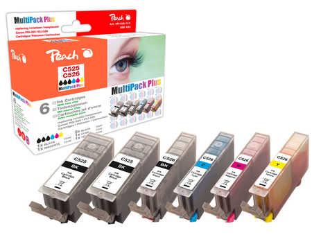 Peach Multipack Plus  avec puce, rendement XL, compatible avec ID-Fabricant: CLI-526, PGI-525 Canon Pixma MG 5150