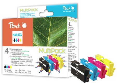 Peach  Multi Pack with chip compatible with ID-Fabricant: No. 364XL HP PhotoSmart Premium C 410 Series