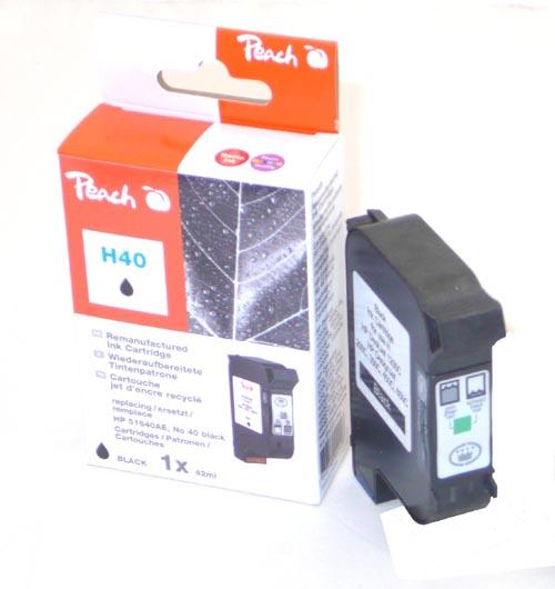 Peach Tête d'impression  noire, compatible avec ID-Fabricant: No. 40, 51640AE HP DesignJet 250 C