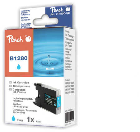 Peach  XL cartouche d'encre cyan, compatible avec ID-Fabricant: LC-1280 c Brother MFCJ 6510 DW