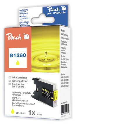 Peach  cartouche d'encre jaune XL, compatible avec ID-Fabricant: LC-1280 y Brother MFCJ 6510 DW