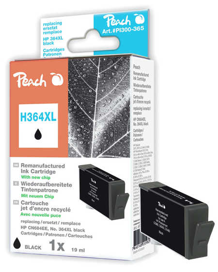 Peach  Ink Cartridge black compatible with ID-Fabricant: No. 364XL, CN684EE HP PhotoSmart Premium C 410 Series