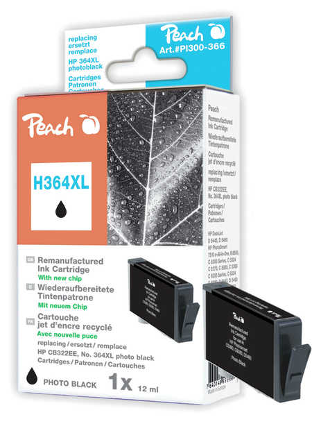 Peach  Ink Cartridge photo black compatible with ID-Fabricant: No. 364XL, CB322EE HP PhotoSmart Premium C 410 Series
