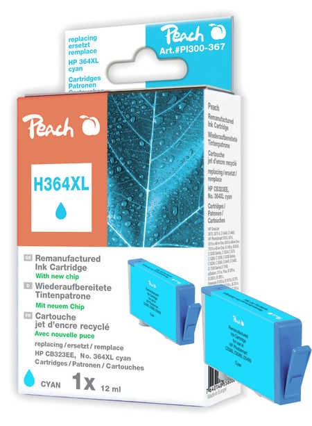 Peach  Ink Cartridge cyan compatible with ID-Fabricant: No. 364XL, CB323EE HP PhotoSmart C 5390