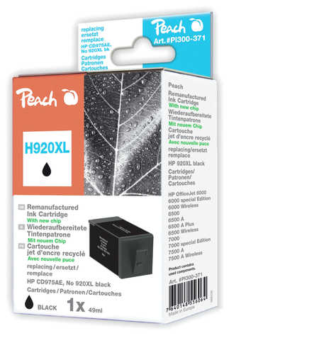 Peach  cartouche d'encre Cartridge noire compatible avec ID-Fabricant: No. 920XL, CD975AE HP OfficeJet 6500 Wireless