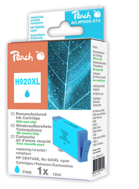 Peach  cartouche d'encre cyan HC compatible avec ID-Fabricant: No. 920XL, CD972AE HP OfficeJet 6500 Wireless