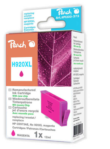 Peach  cartouche d'encre magenta HC compatible avec ID-Fabricant: No. 920XL, CD973AE HP OfficeJet 6500 Wireless